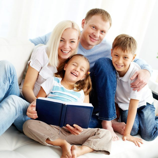 Men looks happy with insurance policy for his family