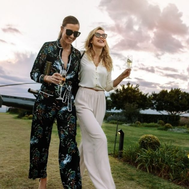 Two women are enjoying their private party at farm