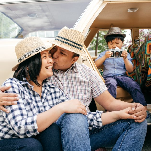 Couple caring with love during road trip