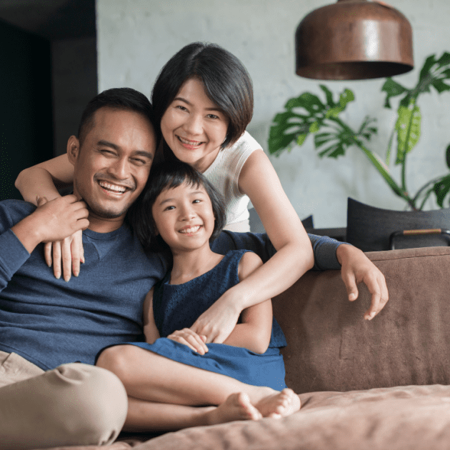 Small Family looks happy at their home