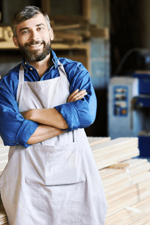 Business owner with apron