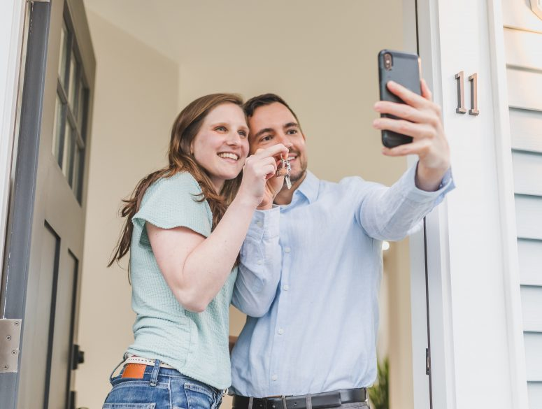 Couple with smile took a selfie on Phone